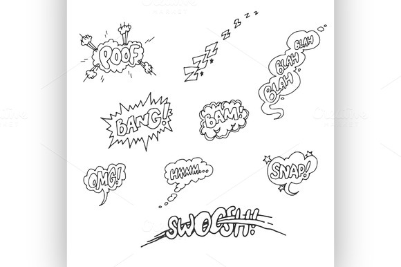 Vector Set Of Sketch Comics Phrases