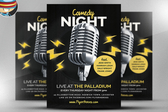 Comedy night poster template