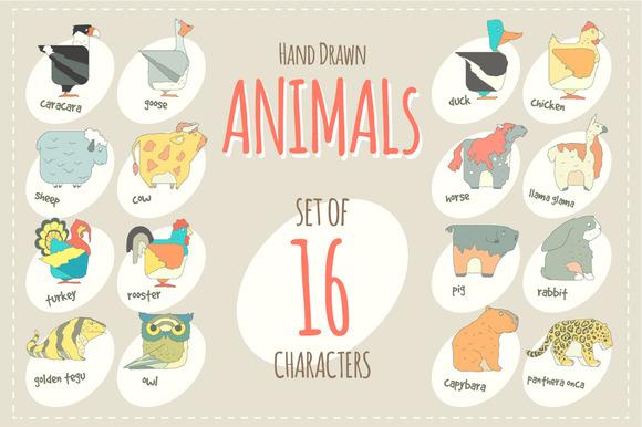 Flat Design Vector Animals Icon Set