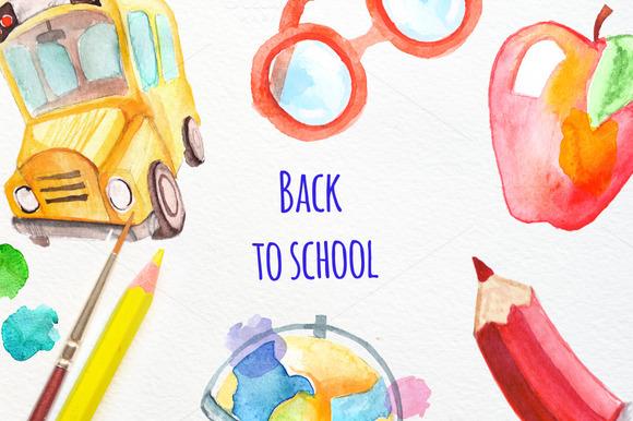 Watercolor Back To School Set