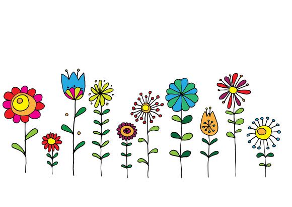 Hand Drawn Retro Flowers