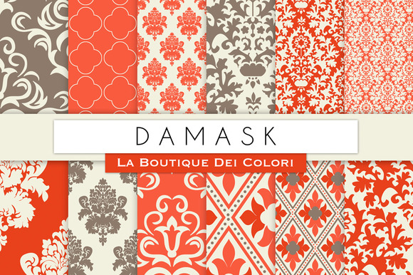 Red Damask Digital Papers