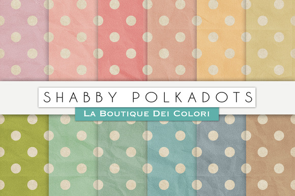 Shabby Polkadots Digital Papers