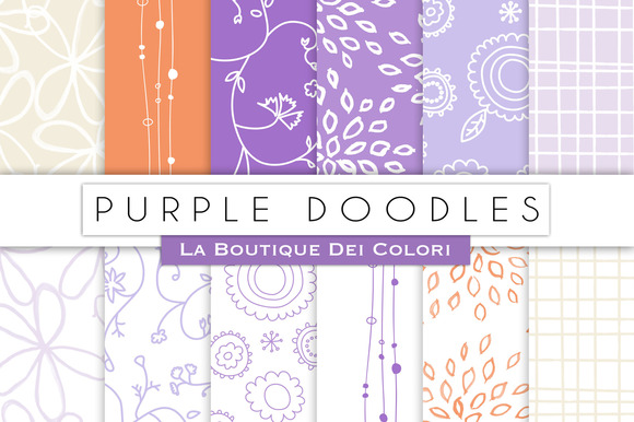Purple Doodles Digital Papers
