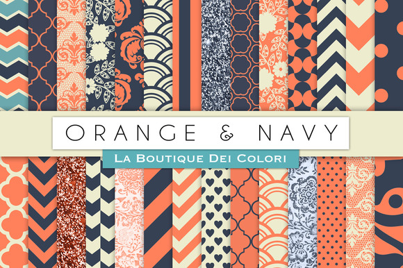 Orange Navy Digital Papers