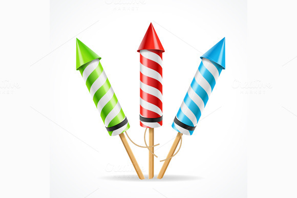 Fireworks Rocket Set Vector