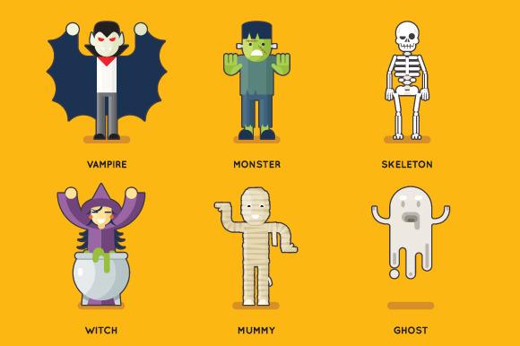 Halloween Characters Icons Set
