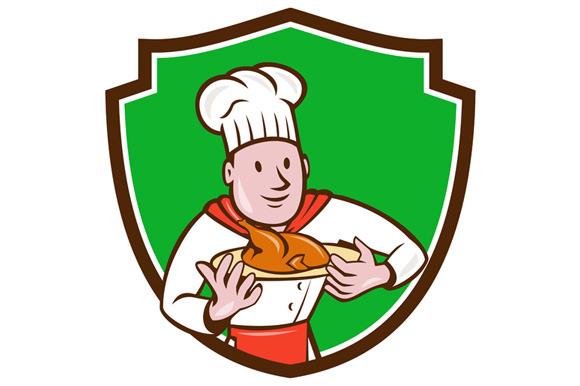 Chef Cook Roast Chicken Dish Crest C