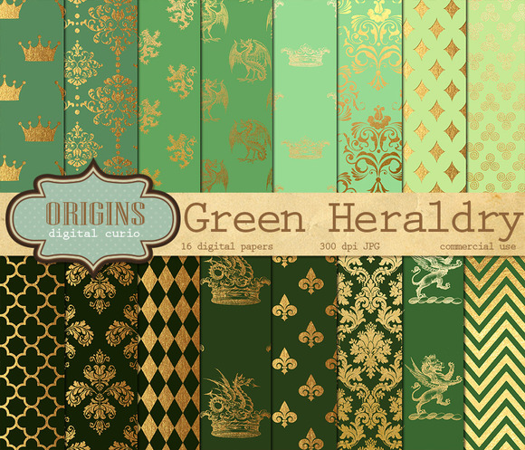Green And Gold Heraldic Backgrounds