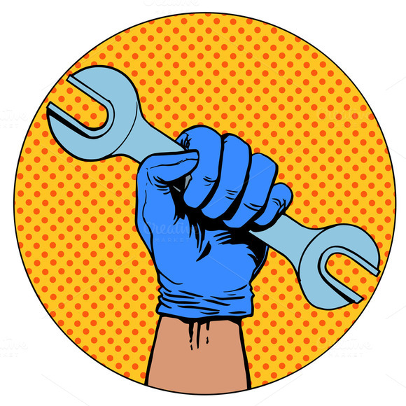 Sign Of Repair Hand Holding Wrench