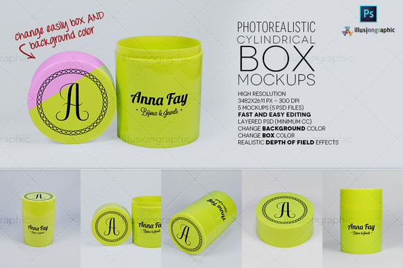 Logo On Cylindrical Box Mockups