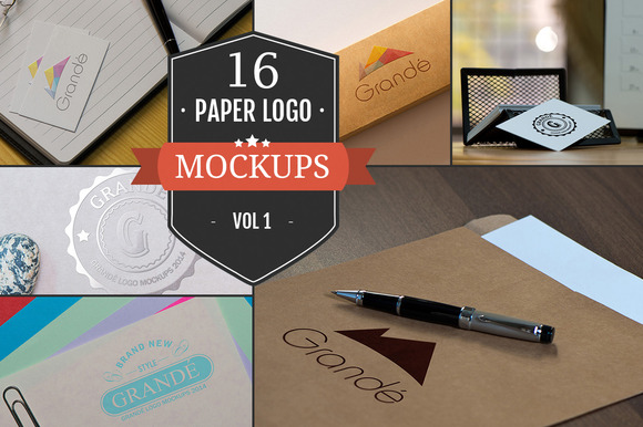 16 Awesome Paper Logo Mockups Vol 1
