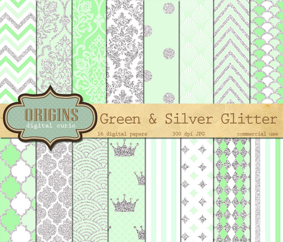 Green And Silver Glitter Paper Pack