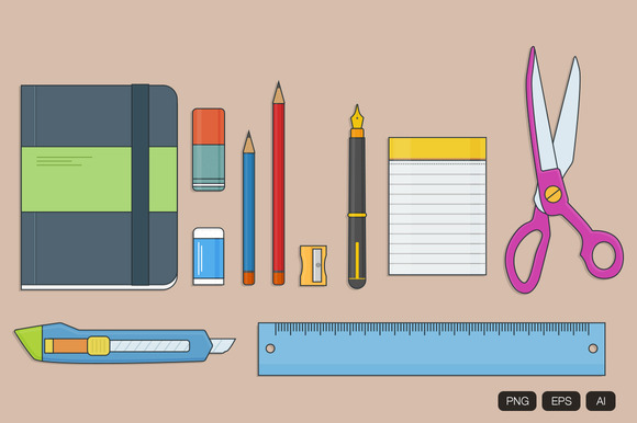 10 Stationery Doodle Vector Icon