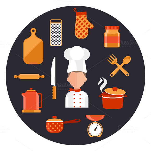 Kitchen Utensils With A Chef