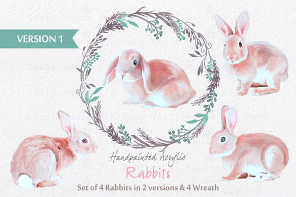 Acrylic Painted Rabbits Wreath Set