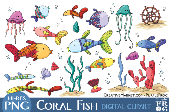 CORAL FISH Digital Clipart