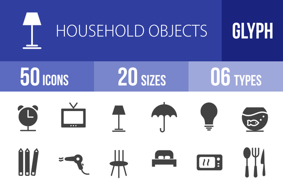 50 Household Objects Glyph Icons