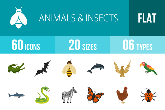 60 Animals Insects Flat Multicolor