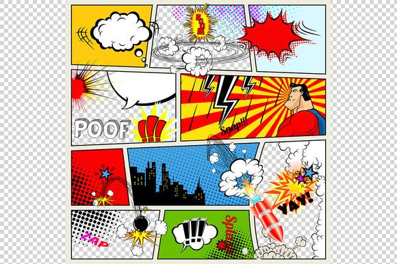 Powerpoint retro comics maydeskcom for Comic book template powerpoint