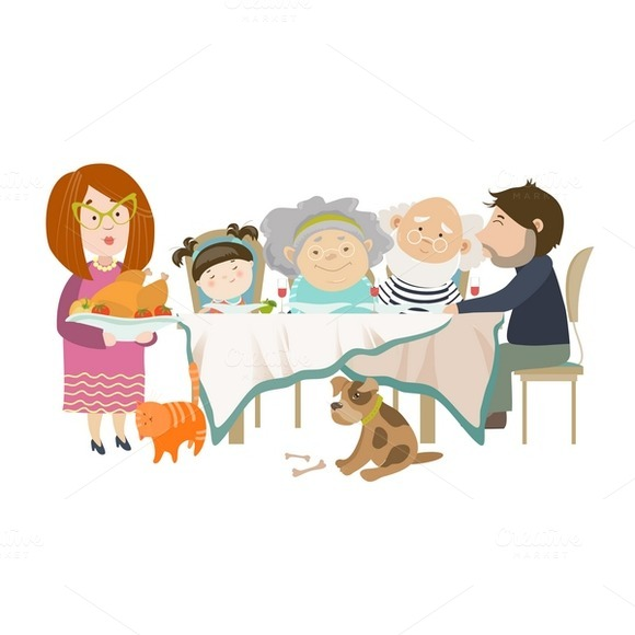 Portrait Of Family Sitting At Table