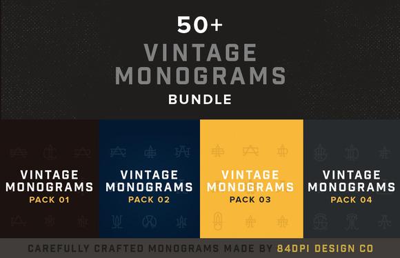 50 Vintage Monograms Bundle