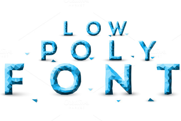 Low Poly Font Alphabet