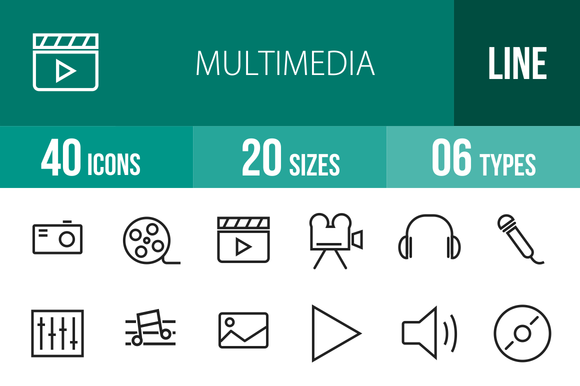 40 Multimedia Line Icons