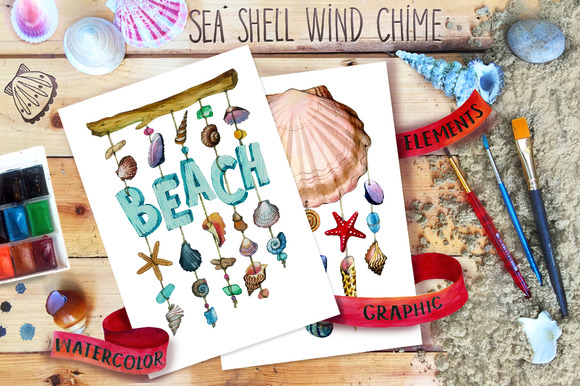 Watercolor Sea Shell Nautical Set