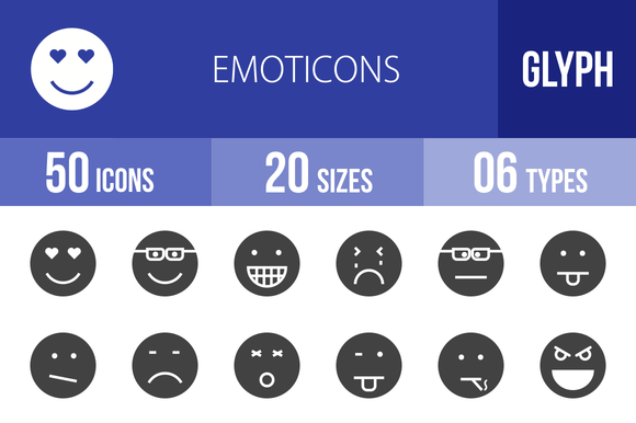 50 Emoticons Glyph Icons
