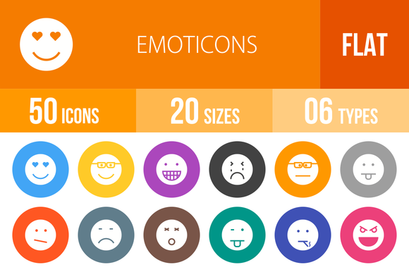 50 Emoticons Flat Round Icons