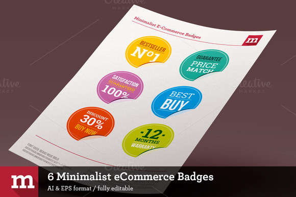 6 Minimalist ECommerce Badges