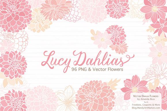 Soft Pink Dahlia Clipart Vectors