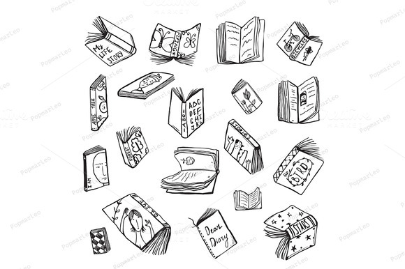 Open Books Drawing Reading Set