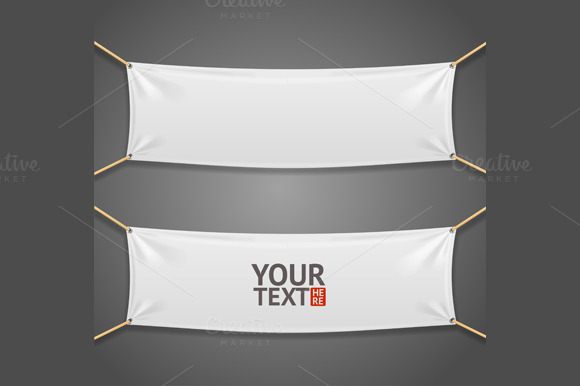 Blanc Fabric Rectangular Banner