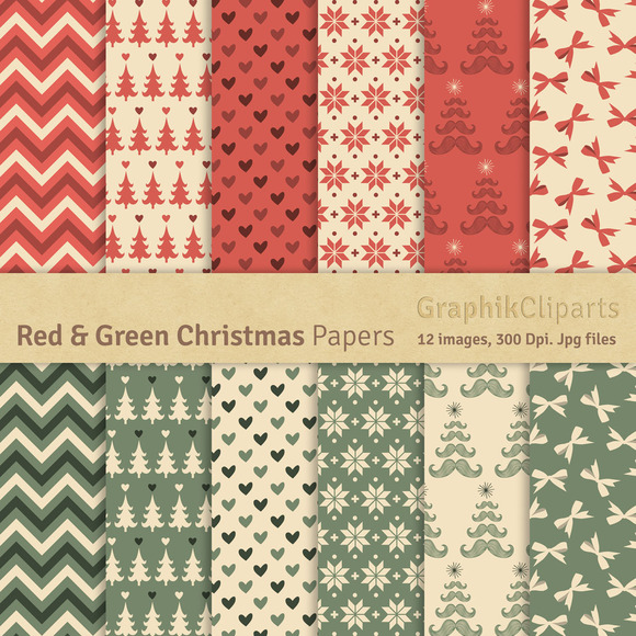 Red Green Christmas Digital Papers