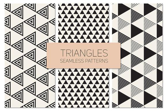 Triangles Seamless Patterns Set 9