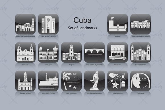 Cuba Landmark Icons