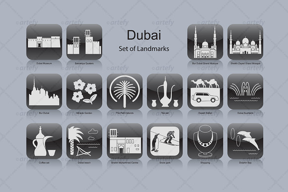 Dubai Landmark Icons