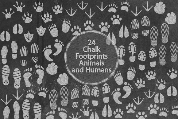 Chalk Footprints Animals And Human