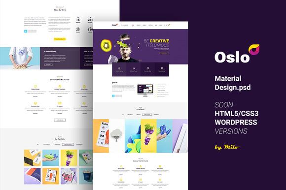 Oslo Material Design PSD Website