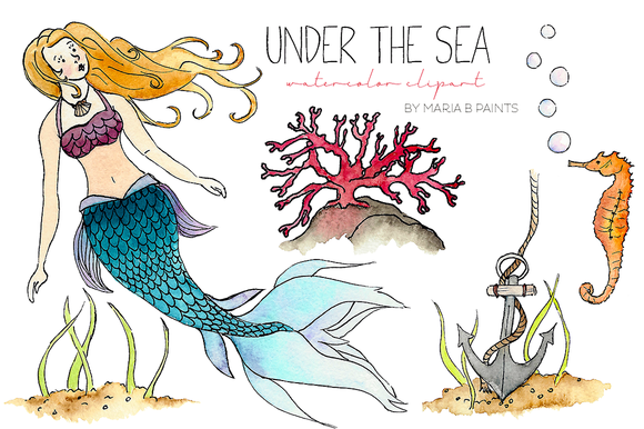 Watercolor Clip Art Under The Sea