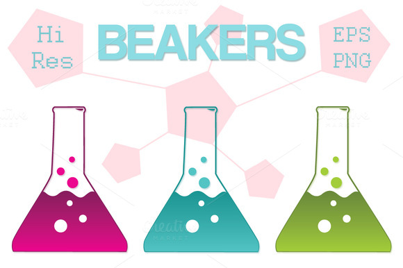 Science Beaker Icons Clipart Vector
