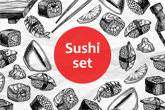 Sushi Set Hand Drawn Illustrations