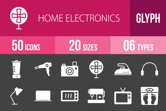 50 Home Electronics Glyph Inverted I