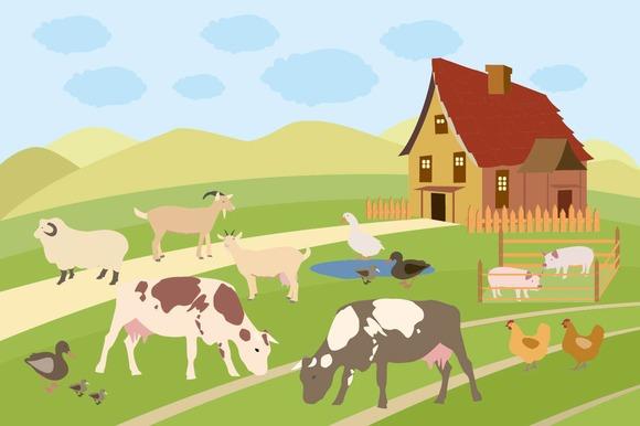 Rural Scene With Farm Animals