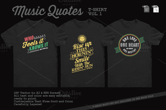 Music Quotes T-Shirt Template Vol 2