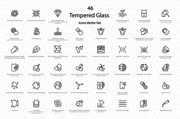 Mobile Tempered Glass Vector IconSet
