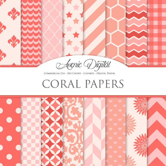 Coral Digital Paper Patterns