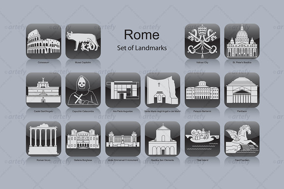 Rome Landmark Icons